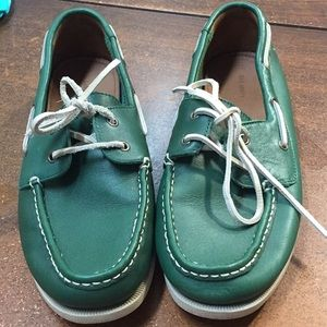 Land's End Leather Boat Shoes men's  11D green